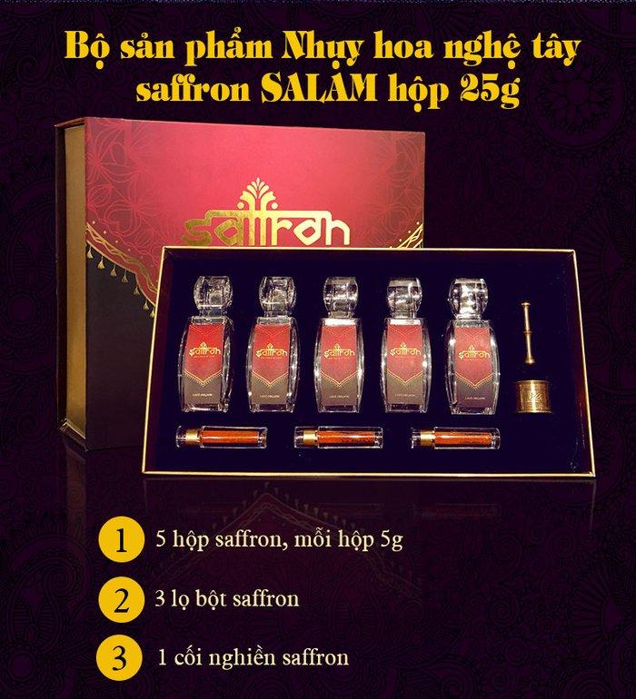 Bộ sản phẩm Nhụy hoa nghệ tây saffron SALAM trà hoa cúc hộp 25g NT004 2