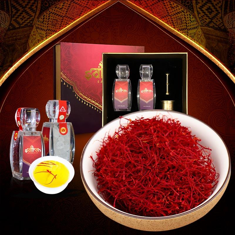 Bộ sản phẩm Nhụy hoa nghệ tây saffron SALAM trà hoa cúc hộp 6g NT002